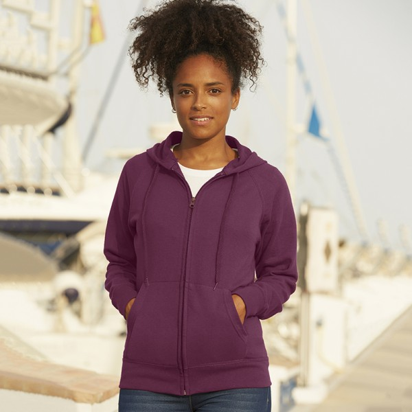 Fruit Of The Loom Lady-Fit Lightweight Hooded Sweatshirt Jacket